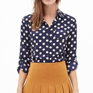 Mango Blue Polka Dot Button-Down Shirt